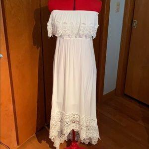 White high low strapless sundress